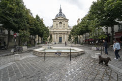 The Sorbonne University in Paris. A view of the Place de la Sorbonne in Paris Stock Image