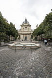 The Sorbonne University in Paris. A view of the Place de la Sorbonne in Paris Royalty Free Stock Image