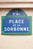 Sorbonne university street sign in Paris. France Stock Image