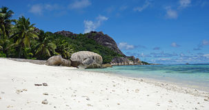 Sorce d'argent. Anse source d'argent on la digue Stock Photo