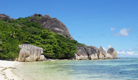 Sorce d'argent. Anse source d'argent on la digue Stock Images