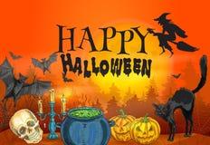 Sorcellerie de Halloween et scène heureuses d'horreur Photos stock