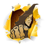 Sorcerer. Illustration with sorcerer on white background Stock Photo