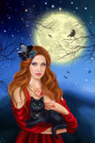 Sorcerer and black cat. Night landscape, moon. Stock Photography