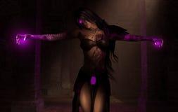 Sorcerer necromancer wizard woman Stock Image