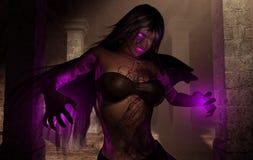Sorcerer necromancer wizard woman. 3d render of evil necromancer sorcerer casting dark magic Stock Photos