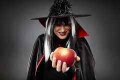 Sorcerer offering a poisoned apple. Tricky witch offering a poisoned apple, Halloween theme Royalty Free Stock Images