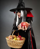 Sorcerer offering a poisoned apple. Tricky witch offering a poisoned apple, Halloween theme Royalty Free Stock Photos