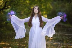 Free Sorcerer Practicing Magic Royalty Free Stock Image - 102270596