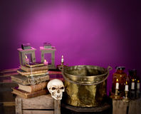 Sorcerer's kitchen. Interior of a sorcerer suitable for halloween backgrounds stock photo