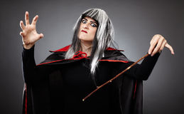 Sorcerer with a wand Stock Images