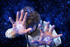 Sorcerer who works magic Royalty Free Stock Photos