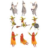 Sorcerers Practicing Wizardry Set, Wizards and Withes Characters in Different Poses Vector Illustratio. N on White Background stock illustration