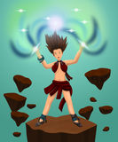 Sorceress. A beautiful young sorceress releasing her magical powers vector illustration