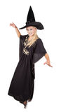 Sorceress. Beautiful sorceress casting a spell. isolated on white background Stock Photo