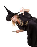 Sorceress. Scary sorceress casting a spell. isolated on white background Stock Images