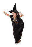 Sorceress. Scary sorceress casting a spell. isolated on white background Royalty Free Stock Photo