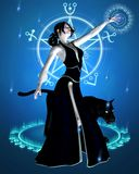 The Sorceress and Black Panther - summoning power. Digital render of a sorceress and her black panther summoning magic power Stock Photos