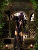Sorceress con la bacchetta magica Fotografia Stock