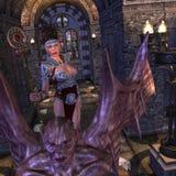 Sorceress e um monstro feio ilustração stock