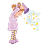 The sorceress empties into the hat with stars fables illustrated for books Stock Image