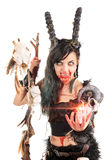 Sorceress. Faun sorceress with big horns and blood isolated in white stock images