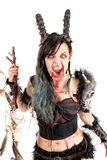 Sorceress. Faun sorceress with big horns and blood isolated in white royalty free stock images