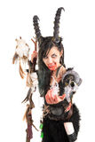 Sorceress. Faun sorceress with big horns and blood isolated in white royalty free stock photos