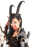 Sorceress. Faun sorceress with big horns and blood isolated in white royalty free stock photography