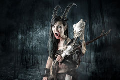 Sorceress. Faun sorceress with big horns in a forest royalty free stock photos