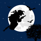 Sorceress flies on broom Stock Photo