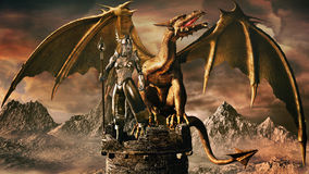 Sorceress and Golden Dragon. Fantasy image with old stone tower, sorceress and dragon royalty free illustration