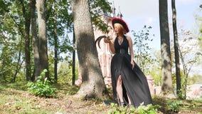 Sorceress halloween horns skull  celebration scary devil costume. Lick stock video footage