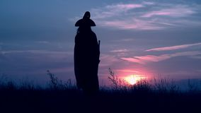 Sorceress in hat and cloak scares the inhabitants of the town. Woman in a witch costume hold broom raising hands cityscape at night view on evening blue sky stock video footage