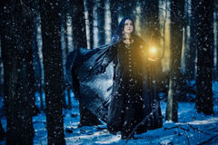 Sorceress and the lamp. In the magic forest royalty free stock photo