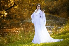 The sorceress in a long white dress. Autumn background stock images