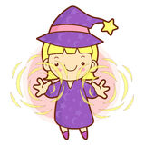 Sorceress mascot practice the black art. Work and Job Character Royalty Free Stock Photography