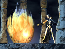 Sorceress performing incantation Stock Image