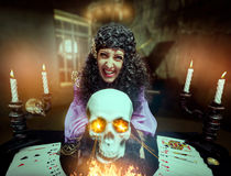 Sorceress practising witchcraft Royalty Free Stock Photography