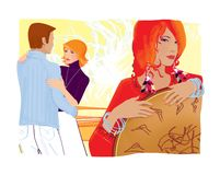 Sorceress shaman with a magical tambourine charms a young girl and a man for love.  stock illustration