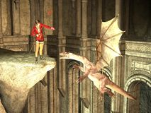 Sorceress tames dragon with spell. Rendered sorceress on high ledge casting spell on flying dragon Royalty Free Stock Photography