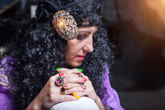 Sorceress telling fortunes Stock Photo