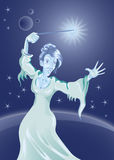 Sorceress. Using her magic wand Vector Illustration