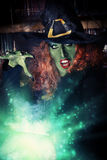 Sorcery. Fairy wicked witch in the wizarding lair. Magic. Halloween Stock Images
