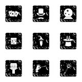 Sorcery icons set, grunge style Royalty Free Stock Photos