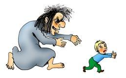 Sorcière attrapant un enfant Images stock
