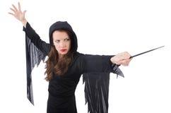 Sorcière avec la baguette magique magique d'isolement Photo stock