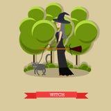 Sorcière avec le balai marchant son chat en parc Affiche heureuse de concept de vacances de Halloween Illustration de vecteur dan Photographie stock