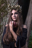 Sorcière dans la forêt foncée Photos stock
