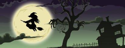 Sorcière de BANNIÈRE de Halloween sur le manche à balai de vol Photos libres de droits